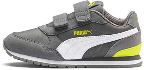 (PUMA Unisex ST Runner Velcro Sneaker, Castlerock White-Nrgy Yellow, 2 M US Little Kid)