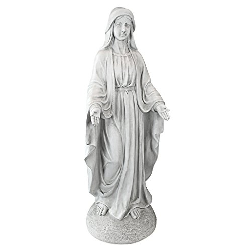 Design Toscano VG55436 Madonna of Notre Dame Religious Garden Decor Statue, 36 Inch, Antique Stone (Outdoor Statues Antique)