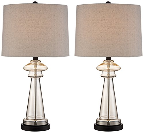Lamp Table One Champagne Light (Dalia Champagne Glass Table Lamp Set of 2)