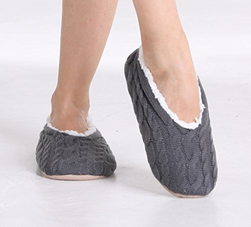 pembrook ladies cable knit slippers ballet style with non skid