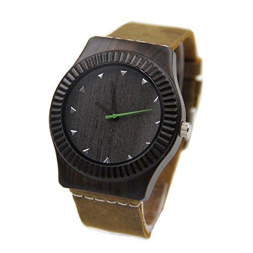 Biao&MZ Nuevo reloj / Unisex / negocios / natural madera / ébano / reloj de pulsera / cuero correa / regalo / usable / accesorios , Black