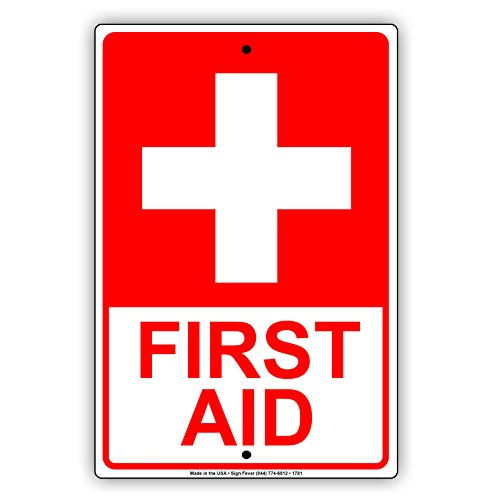 First Aid With Graphic Red Letters Workplace Safety Protection Alert Attention Caution Warning Notice Aluminum Metal Tin 12