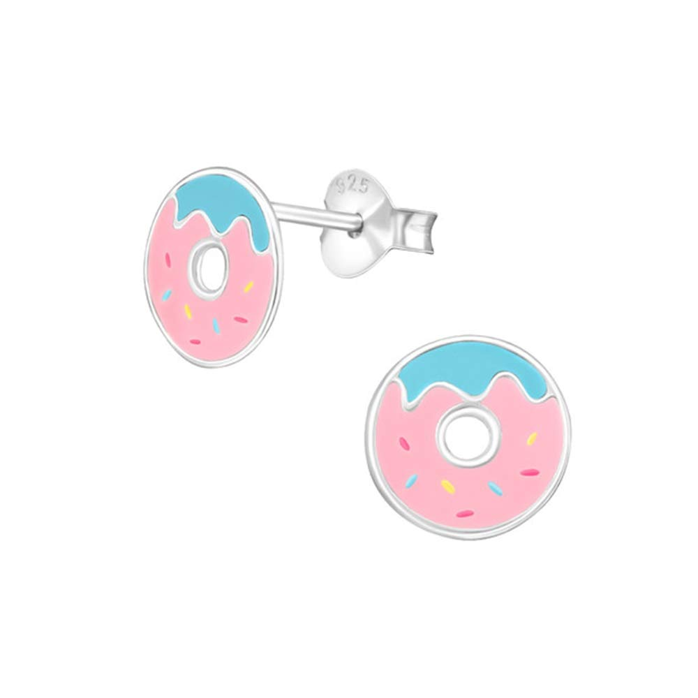 Girls Doughnut Colorful Ear Studs 925 Sterling Silver