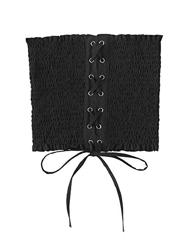 Pleated Bandeau - MakeMeChic Women's Strapless Lace up Pleated Sexy Tube Bandeau Tops Black S