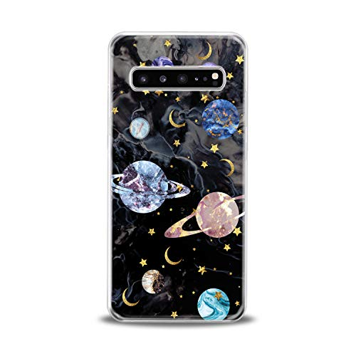 Lex Altern TPU Case for Samsung Galaxy s10 5G Plus 10e Note 9 s9 s8 s7 2018 Clear Marble Black Cover Print Planets Colorful Protective Saturn Design Flexible Girl Women Silicone Kid Beautiful Space