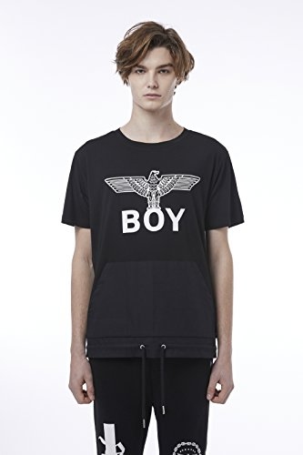 BOY London Unisex (S,M,L,XL) 18SS Front Pocket String Detail Shortsleeve T-Shirt - Black,White New_(BH2TS142) (Black, XLarge) by BOY London