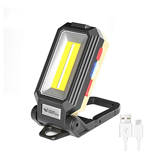 Smiling Shark LED Rechargeable Work Light,30W 1500 Lumens Bright Job Site Light, with Hook& Magnet& Nut, Waterproof USB Charge Lighting Flashlight for Working, Car Repairing, Hiking, Fishing