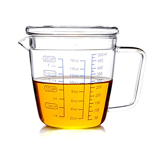 Teemall 1-Cup Glass Measuring Cup with a Lid 16oz/500ML (Teacup Measuring Cups)