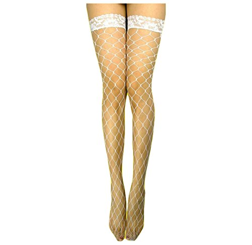Sexy Red White Pink Large Big Fish Fence Net Fishnet Thigh High Nylon Stockings with Lace up for Women's Erotic Lingerie (Red Fence Net Thigh Highs)