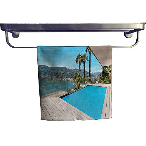 (Pool Gym Towels, Modern House Beautiful Patio with Pool Outdoor Wooden Deck Timber Residence Pho,Good Ideal for The Kid's Room, a Guest Room W 10