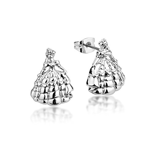 Disney Couture Beauty and the Beast Princess Belle Stud Earrings - White Gold Plated (Kids Disney Couture)