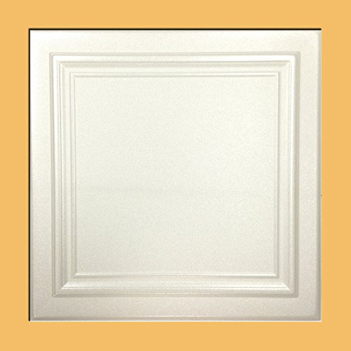 Zeta White Foam Ceiling Tile  40pc Box  Decorative Ceiling Tile Easy Glue up DIY