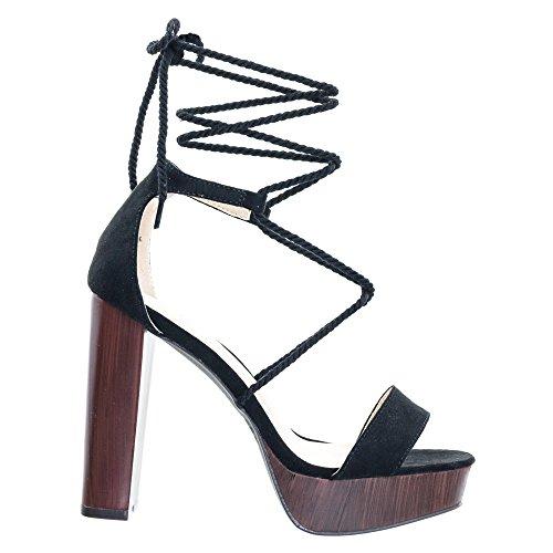 Wooden Wedge Wrap - Rope Braided Leg Wrap Laces On Open Toe Wooden Block Heel Platform