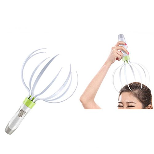 Hand Held Scalp Head Massager Therapeutic Head Scratcher Electric Vibrating Accupressure Acupuncture Massage for Deep Relaxation 5-in-1 Head and Body Massager Kit (Green)