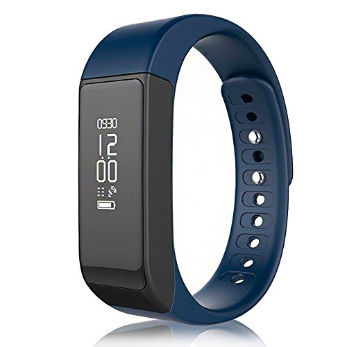 LENDOO I5 Plus Fitness Tracker Waterproof Smart Bracelet Step Pedometer IP65 Sports Wristband Bluetooth 4.0 Tracking Calorie Health Sleep Monitor Wristband for Android &IOS Phone (dark blue)