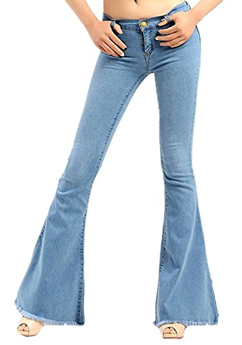 Chartou Women's Asymmetric Tassel Flared Slit Ripped Jeans Denim Pants (Large, Light Blue)]()