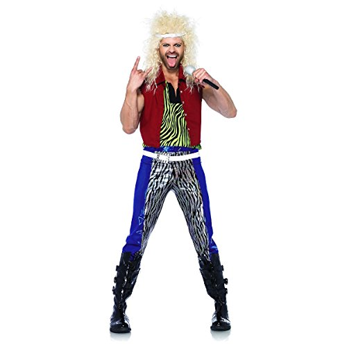 Leg Avenue Men's 5 Piece 80's Rock God Costume, Multicolor, Small ()