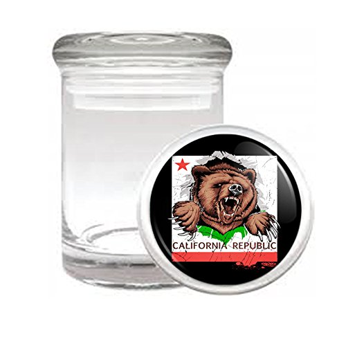 California Bear D1 Medical Glass Jar 3'' X 2'' Herb & Spices State Animal Bear Flag California Republic Cali by Perfection In Style