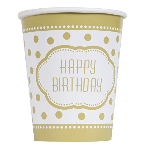 9oz Golden Birthday Party Cups