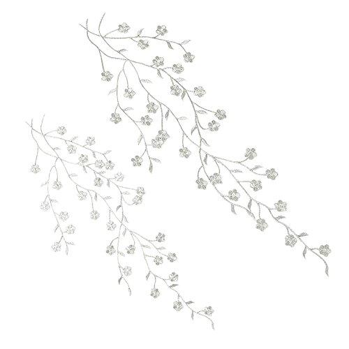 Gosear 2 Piezas Parches para Ropa Termoadhesivos - Elegantes Hierro-en Flor de Ciruela Bordada Apliques Parches Bricolaje...