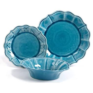 The Pioneer Woman 82698.12R Paige 12-Piece Crackle Glaze Dinnerware Set, Denim/Blue