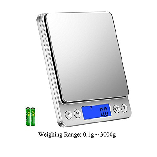 Scale 3000 (Food Scale Kitchen Digital Weighing 0.1gram to 3000gram Scale ,Include 6 Kinds of Units Such as Grams, Ounces and Others.Multifunction Smart waterproof gram Scale with 2 Removable Bowl. (3000g))