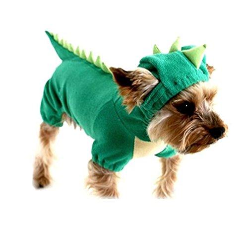 T Rex Cat Costume (YAAGLE Dogs Cat Pets Jumpsuit Crocodile Clothes Apparel Dragon T-rex Dinosaur Raptor Plush Costumes T Shirt)