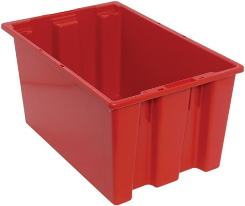 Quantum SNT240RD 23-1/2-Inch by 15-1/2-Inch by 12-Inch Stack and Nest Tote, Red, 3-Pack by Quantum Storage Systems