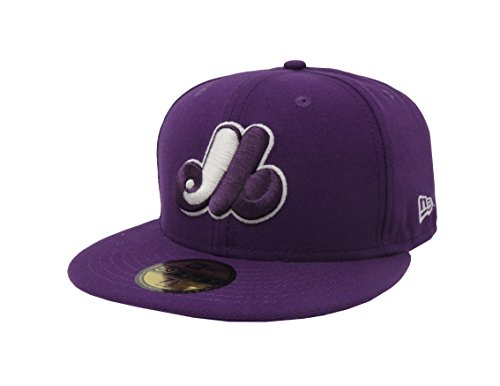 Hat 59Fifty MLB Montreal Expos CooperstownM Purple Fitted Headwear Cap (7 - Montreal Head Shop