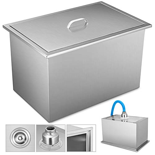 VEVOR Drop in Ice Chest Bin 304 Stainless Steel Ice Chest with Cover Drop in Cooler for Wine Beer Juice (21.2x16.8x17.6 Inch, with Cover)