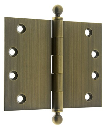 idh by St. Simons 84050-005 Professional Grade Quality Genuine Solid Brass Wide Throw Ball Tip Hinges (Pair), Antique Brass