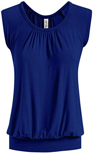 Womens Royal Blue Junior Shirt Royal Blue Loose Top Reg and Plus Size Top, Royal Blue, Medium
