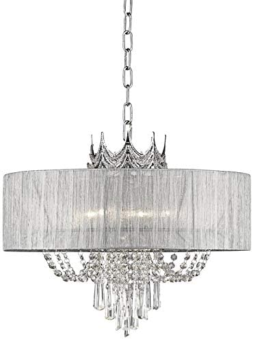 Hallie Silver Draped Crown Crystal Chandelier 21 Wide Modern 6-Light Fixture for Dining Room House Foyer Kitchen Island Entryway Bedroom Living Room – Vienna Full Spectrum