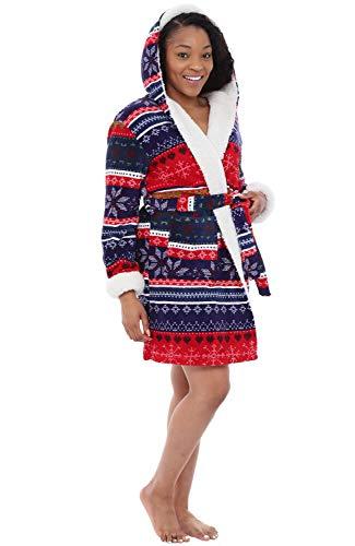 Alexander Del Rossa Womens Short Fleece Hooded Robe, Bathrob