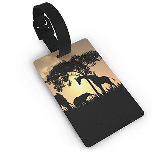 (Jugbasee African Safari Silhouette Luggage Tag Travel ID Label Set of 2 for Suitcase PVC Size 2.2'' X)