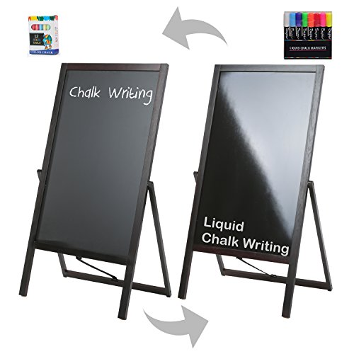 Double Reversible Chalkboard Sided (Large Wood Double Sided A-Frame Chalkboard and Liquid Chalk Marker Sidewalk Display Sign, Brown)