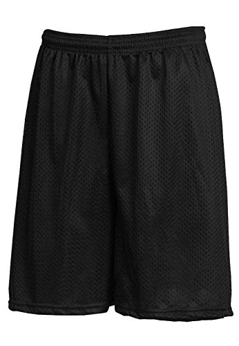 Mesh Shorts Pockets Workout Jersey Pants S-5xl Soft Basketball Gym Fitness (Small, Black) (Knee Length Baseball Pants)