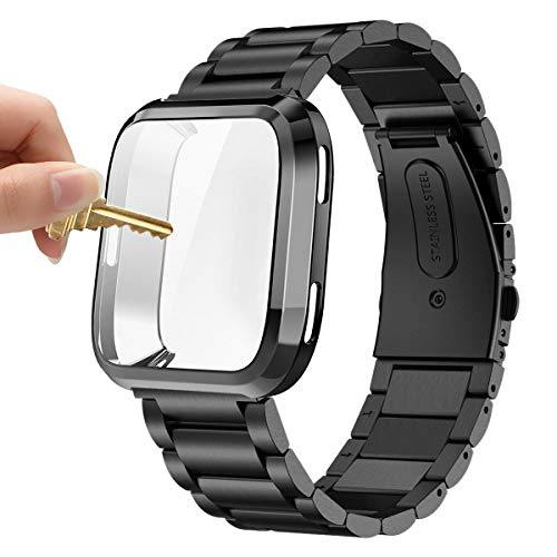 Maxjoy Compatible with Fitbit Versa Bands, Stainless Steel Band Large Small Solid Metal Bracelet Wristband with Protective Cover Case for Men Women, Compatible with Fitbit Versa Smart Watch, Black