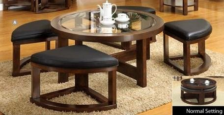 Crystal Cove II Coffee Table w/ 4 Ottomans