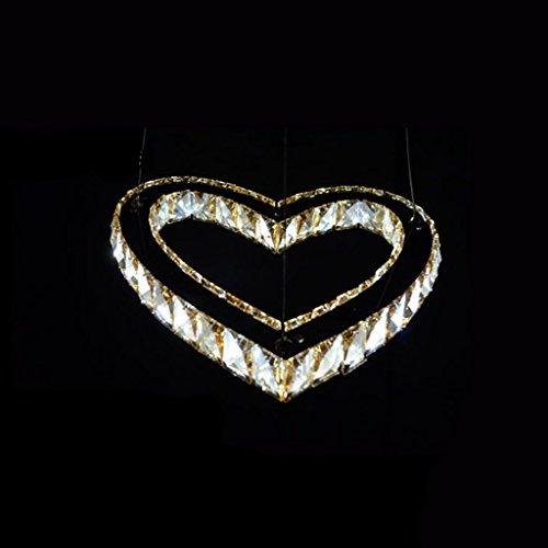 HOMEE Ceiling Chandelier-Led Stainless Steel Crystal ChandelierLiving Room Restaurant Heart-Shaped Modern Bar Lamp,Amber by HOMEE