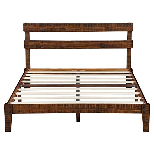 PrimaSleep PR38SF02Q 12 inch Platform Headboard/Wood Slat Support Bed Frame/Noise Free, Queen Brown