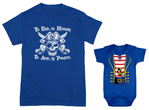 HAASE UNLIMITED to ERR is Human/Pirate Costume 2-Pack Bodysuit & Men's T-Shirt (Royal/Royal, X-Large/24 Months)