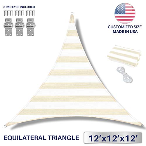 Windscreen4less 12 x 12 x 12 Sun Shade Sail UV Block Fabric Canopy in Beige White Wide Stripes Triangle for Patio Garden Patio 3 Pad Eyes Included Customized Sizes 3 Year Warranty
