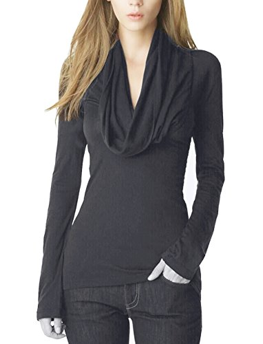 YesFashion Women Soft V-Neck Long Sleeve Stretch Casual Blouse Tunic Top Deep grey M (Deep Cowl Top compare prices)
