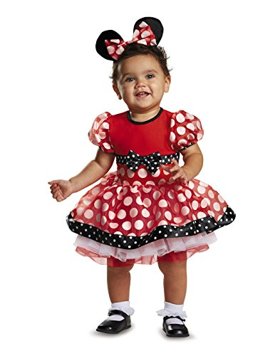 [Disguise Baby Girls' Red Minnie Prestige Infant Costume, Red, 6-12 Months] (Affordable Costumes)