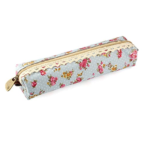 Oksale® Flower Print Lace Pencil Case Office Stationery School Storage Writting Makeup Cosmetic Pen Bag (Sky Blue)