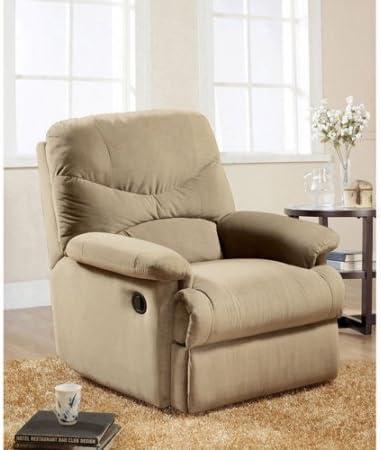 Eshion Wall Hugger Microfiber Recliner Adjustable Chair for Living Room, Multiple Colors (Beige)