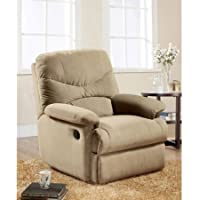 Eshion Wall Hugger Microfiber Recliner Adjustable Chair for Living Room, Multiple Colors (Beige)