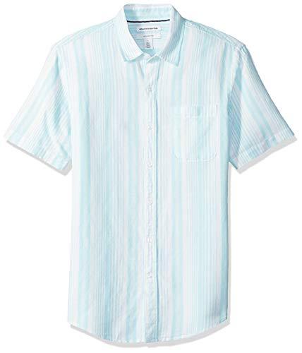 Amazon Essentials Men's Slim-Fit Short-Sleeve Stripe Linen Shirt, Aqua, XX-Large ()