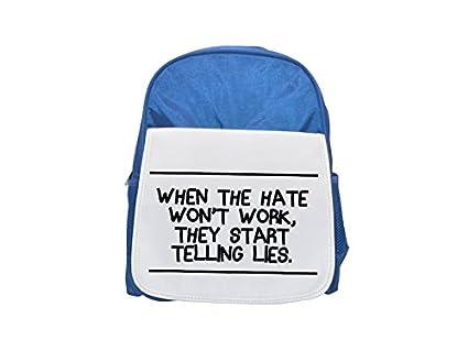 Cuando el gato no trabaja empiezan a tejer las moscas impresas mochila azul infantil, mochilas